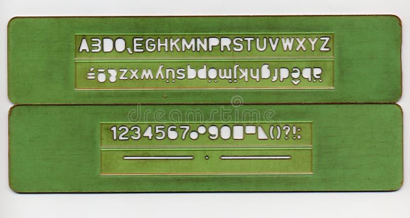Buchstaben und Zahlschablonensatz lizenzfreie stockfotografie