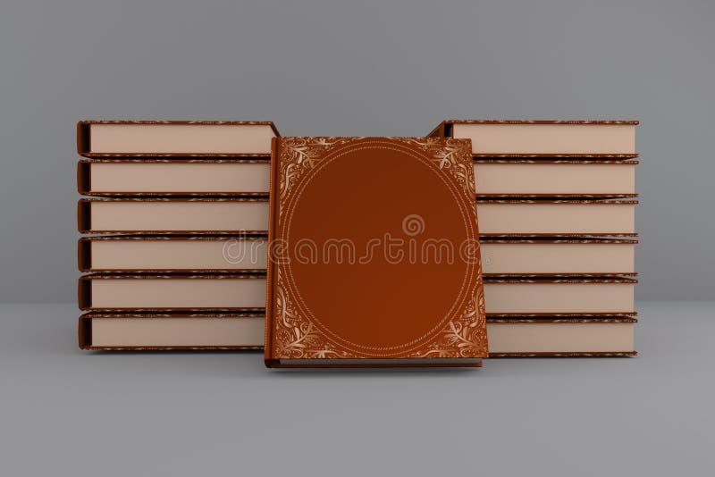 Buchstand auf dem Tisch 13 Stücke mit einer isomeren Projektion der Illustration der Verzierung 3d der gebundenen Ausgabe vektor abbildung