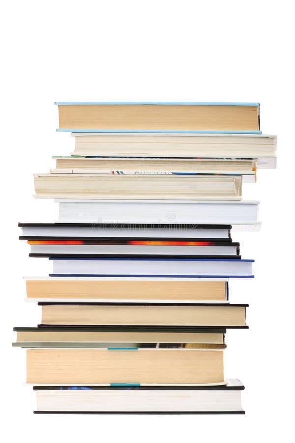 Buchstapel getrennt auf weißem Hintergrund mit Exemplar stockfotografie
