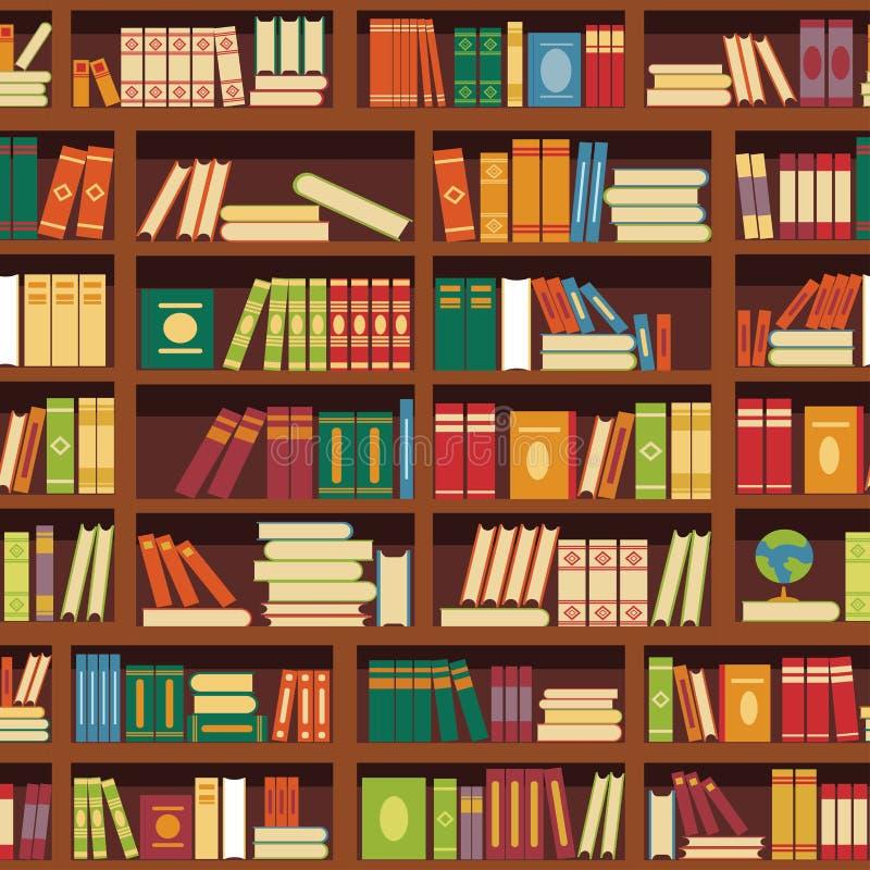 Bucht nahtloses Vektormuster des Bibliotheksbuchregals der Literatur lizenzfreie abbildung
