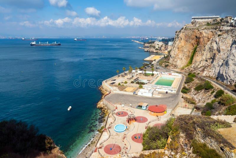 Bucht von Gibraltar-Bucht von Algesiras lizenzfreie stockbilder