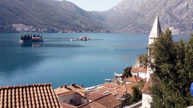 Bucht von Kotor, Stadt Perast Reise- und Tourismuskonzept stockfotos