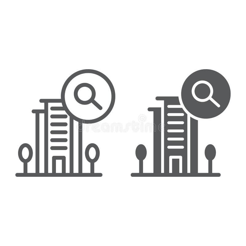 Buchungslinie und Glyphikone, Hotel und Such-, Hotel- und Lupenzeichen, Vektorgrafik, ein lineares Muster stock abbildung