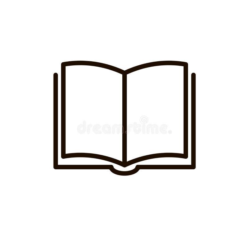 Buchvektorikone, Linie dünnes Zeichen des Entwurfs, flacher Entwurf für Netz, mobiler App lokalisiert auf Weiß lizenzfreie abbildung