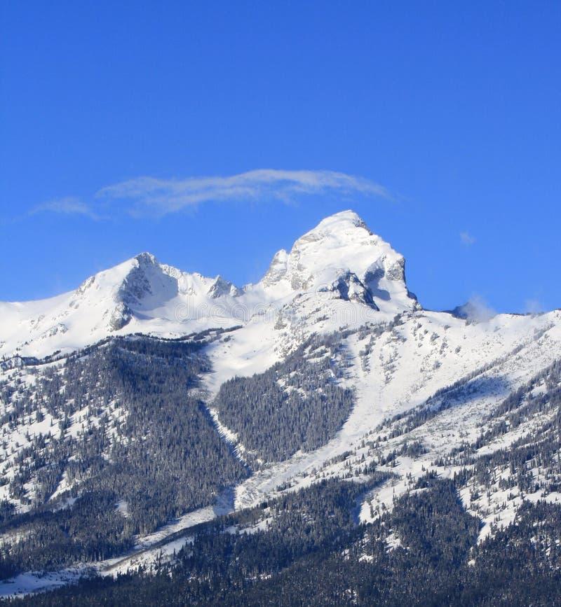 Buck Mountain med det wispy cirrusmolnmolnet som uppe i luften blåser i den storslagna Teton bergskedjan i den storslagna Tetons  arkivfoton