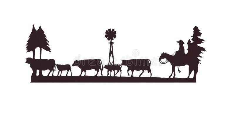 Buckaroos - cowboy em seu cavalo, agrupando o gado imagens de stock royalty free