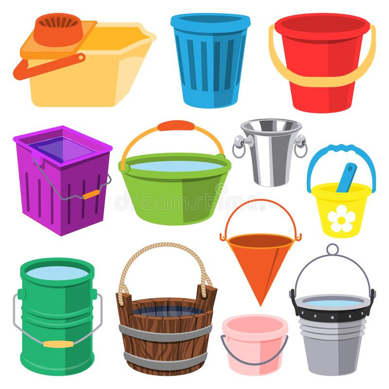 Bucket древесина воды вектора полные и металл, пластичное мусорное ведро иллюстрации bucketful, бак изолированный на белой предпо иллюстрация вектора