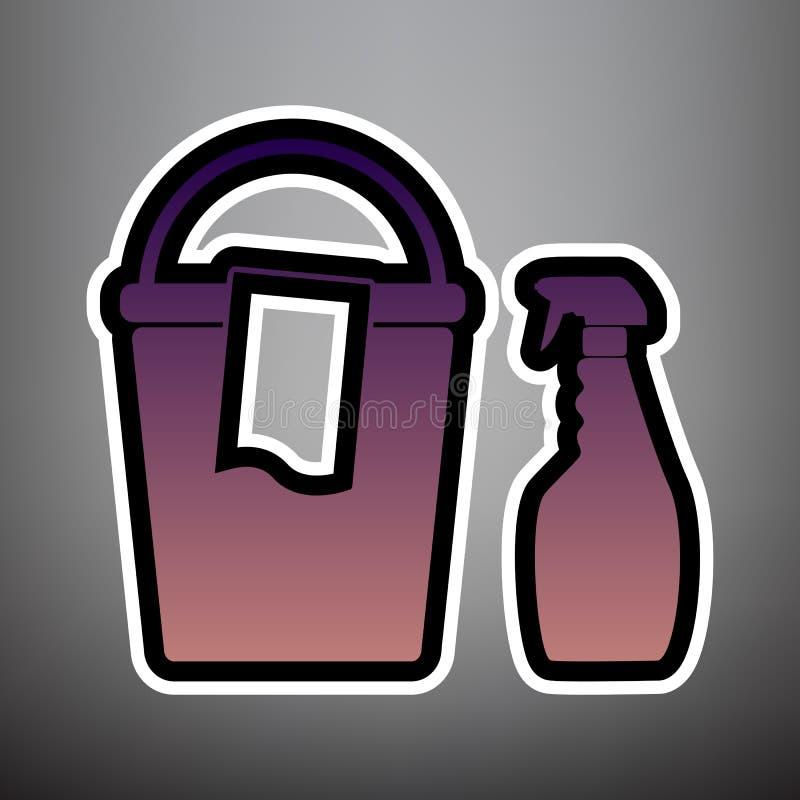 Bucket и ветошь с бутылками химиката домочадца вектор лилово бесплатная иллюстрация