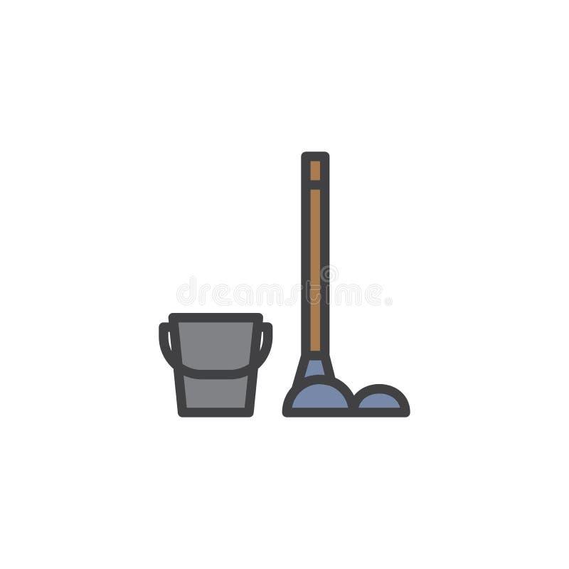 Bucket и mop с заполненным сыпней значком плана иллюстрация вектора