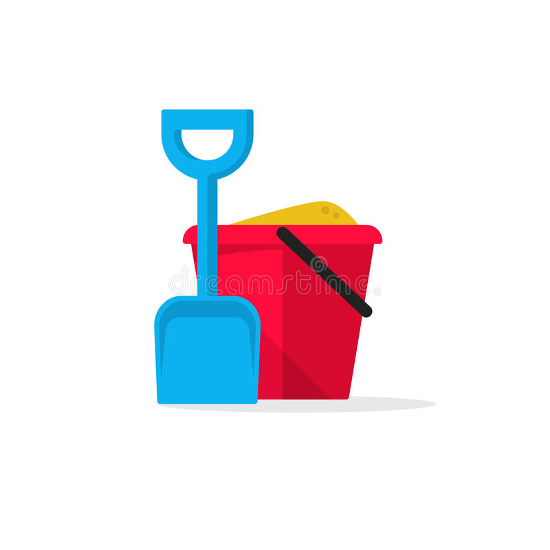 Free Bucket And Spade With Sand Vector Illustration Royalty Free Stock Image - 74088976