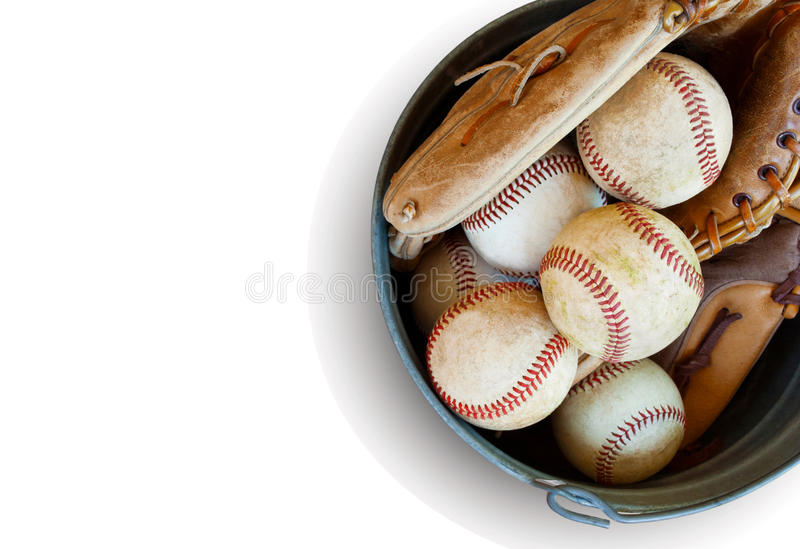 Bucket of balls-isolated stock photography