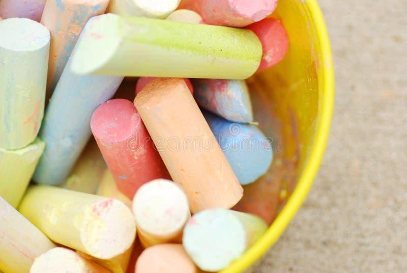 Bucket of chalk stock photo