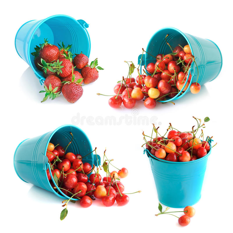 Download The Bucket Of Cherries And Strawberries Set Stock Image - Image: 26539175