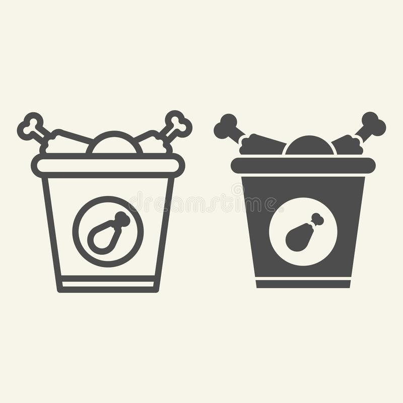 Bucket of chicken legs line and glyph icon. Street fast food vector illustration isolated on white. Fried chicken legs stock illustration