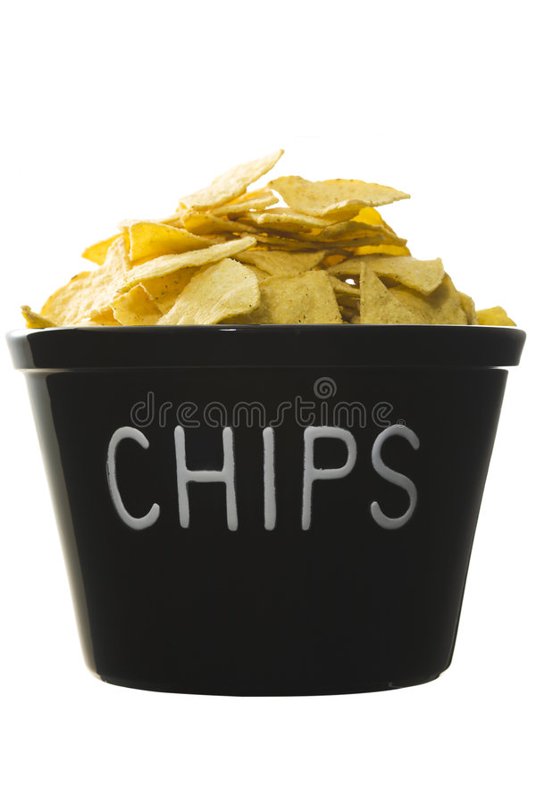 Bucket of chips stock image