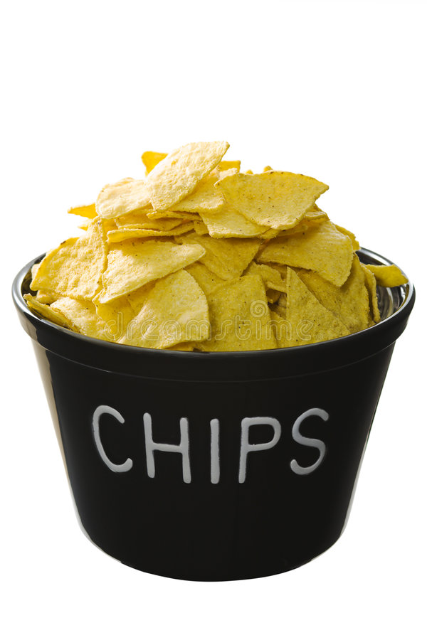 Bucket of chips royalty free stock photos
