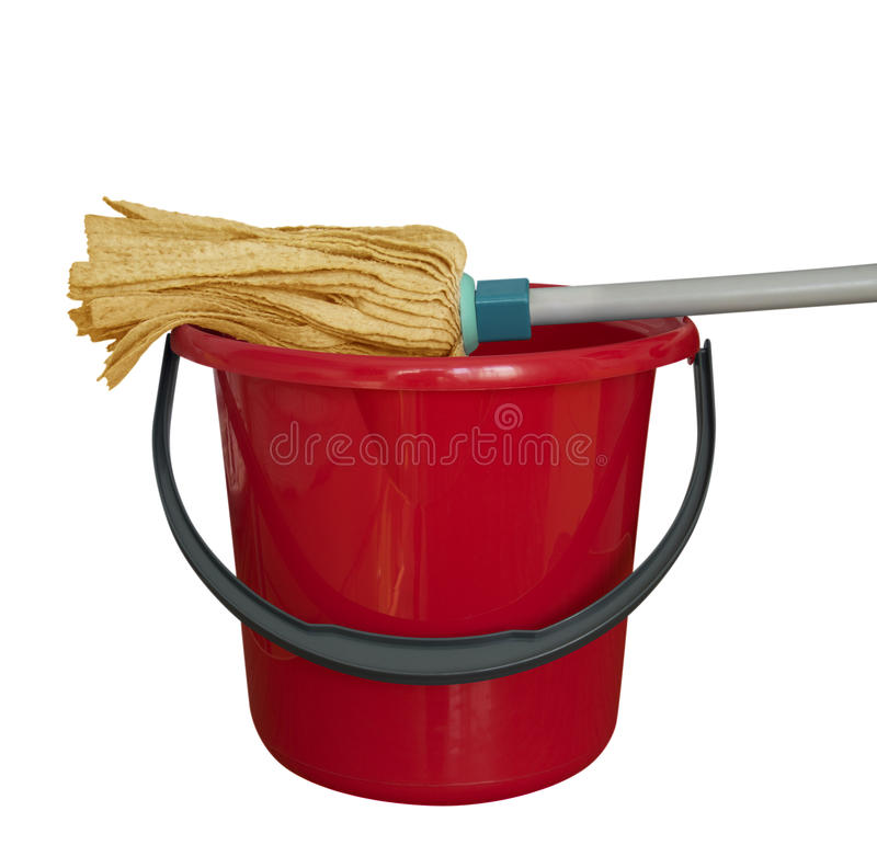 Bucket with cleaning mop - red royalty free stock photos
