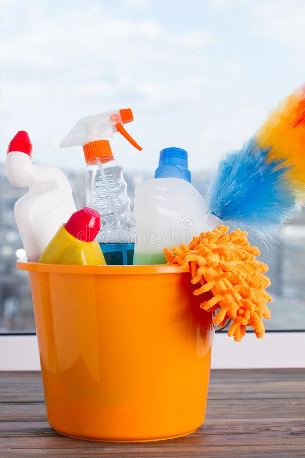 Bucket with cleaning supplies. royalty free stock photography