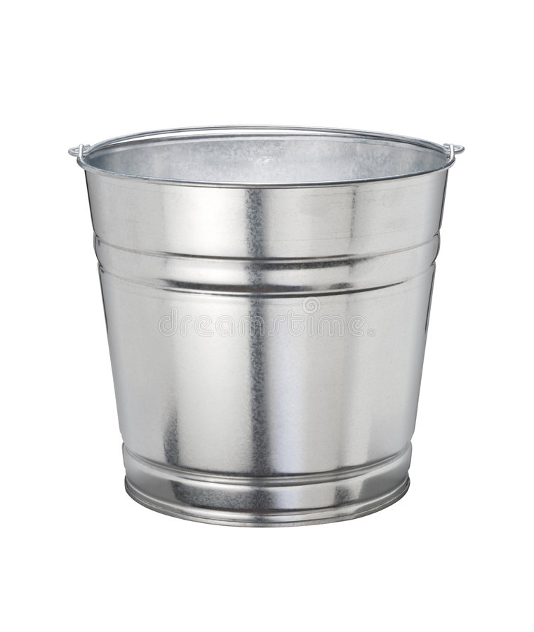 Bucket (with clipping path). Aluminum Bucket (with clipping path) isolated on a white background. Isolation is on a transparent layer in the PNG format stock photography