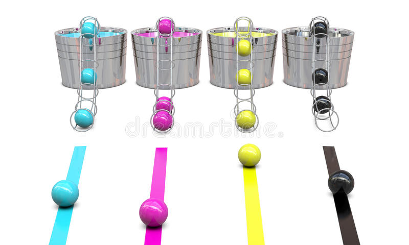 Bucket with CMYK colors and balls