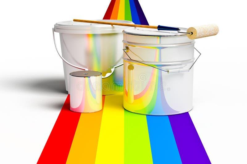 Bucket con vernice, il rullo ed i colori dei Rainbow illustrazione vettoriale