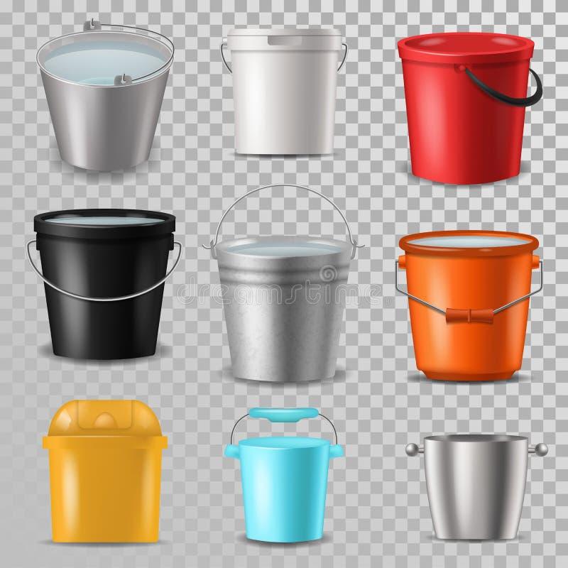 Bucket el cubo lleno del vector y el cubo plástico del bitbucket vacíos o con agua bucketing abajo en jardín y garbagepail o ilustración del vector