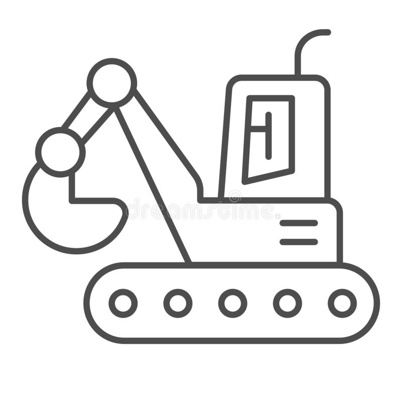 Bucket excavator thin line icon. Digger vector illustration isolated on white. Construction outline style design stock illustration