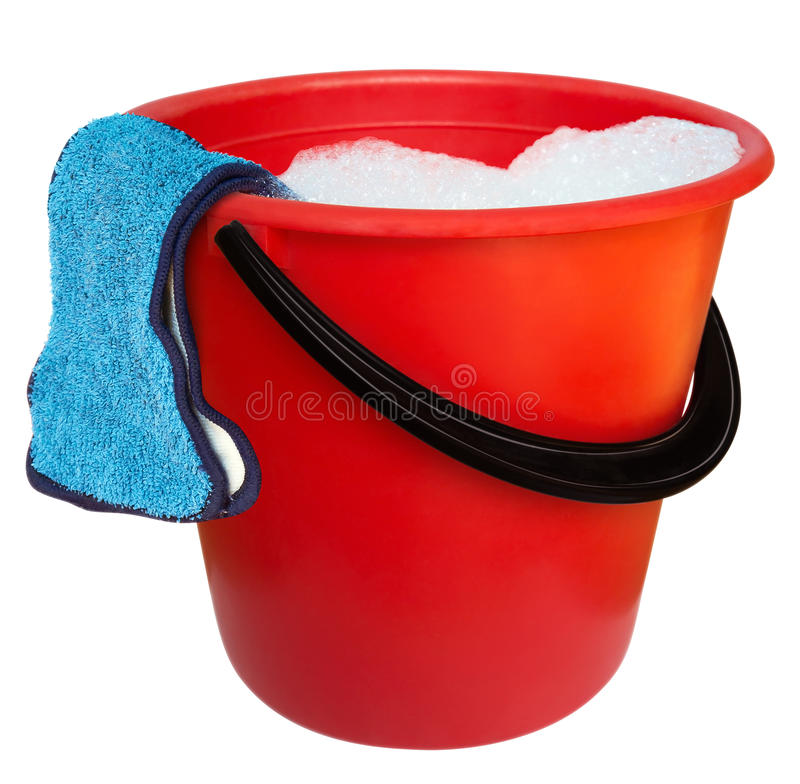 Bucket and floorcloth stock photography