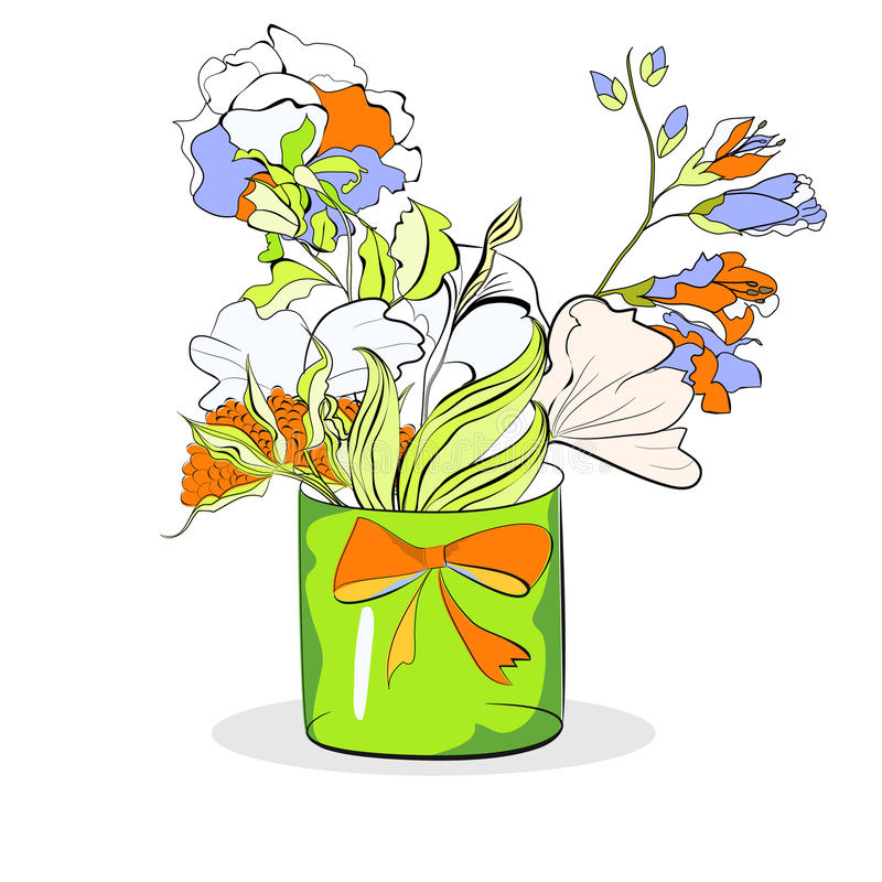 Bucket With Flowers On White Royalty Free Stock Photography