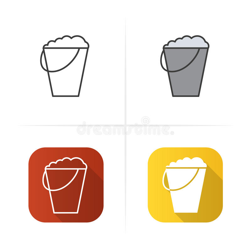 Bucket with foam icon. Flat , linear and color. Bucket with foam icon. Flat design, linear and color styles. vector illustrations royalty free illustration