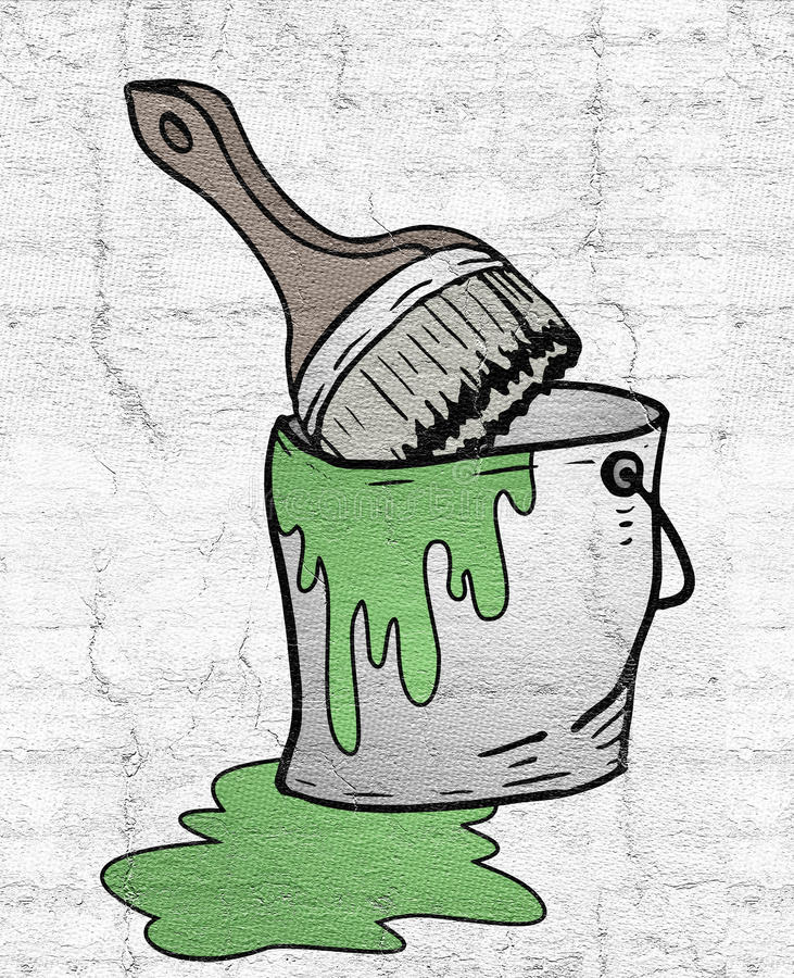 Bucket of green paint vector illustration