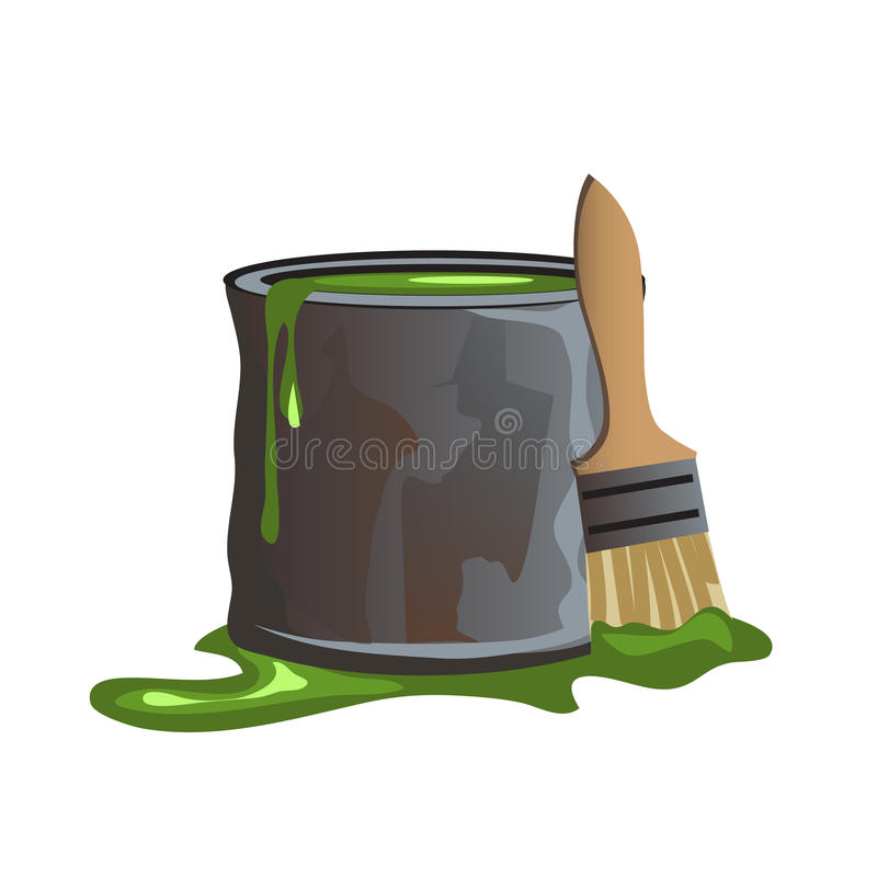 Bucket of green paint and molar brush royalty free illustration