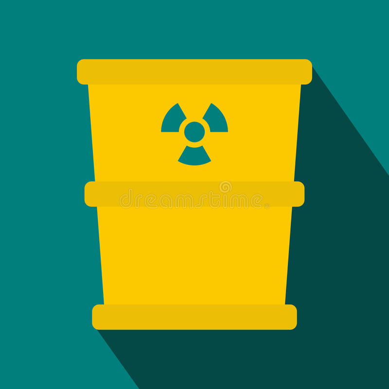 Bucket for hazardous waste icon, flat style. Bucket for hazardous waste icon in flat style with long shadow. Waste and sanitation symbol vector illustration