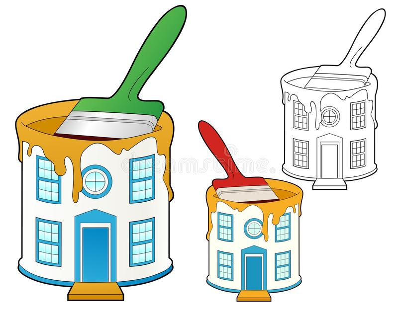 Bucket of house colored paint vector illustration