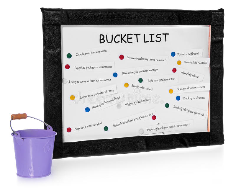 Bucket lists on the board and bucket on completed tasks. Bucket lists on the board. List on white board in a black velvet frame. The list of things to do pinned royalty free stock photo