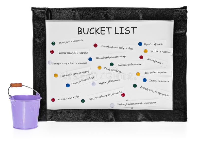 Bucket lists on the board and bucket on completed tasks. Bucket lists on the board. List on white board in a black velvet frame. The list of things to do pinned stock images
