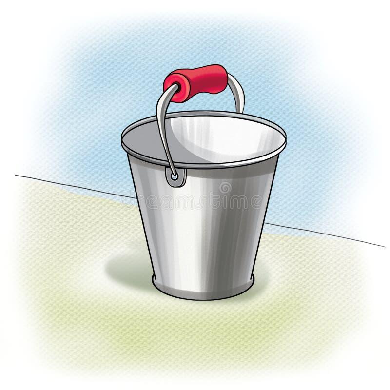 Bucket. Metal bucket on light background, aluminium pail. Digital illustration, Image, clip art for child book, Alphabet books, Learning Book, album, fashion royalty free illustration