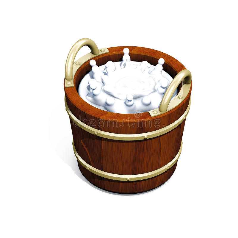 Download Bucket milk stock illustration. Image of wooden, bucket - 14236435