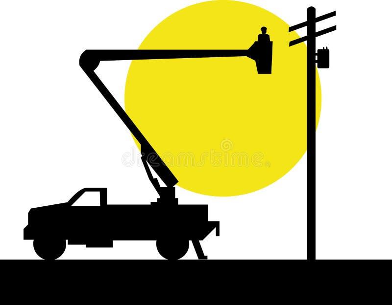 Bucket o caminhão e o lineman ilustração do vetor
