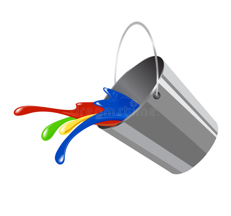 Bucket with paint for icon. Creativity and decoration stock illustration