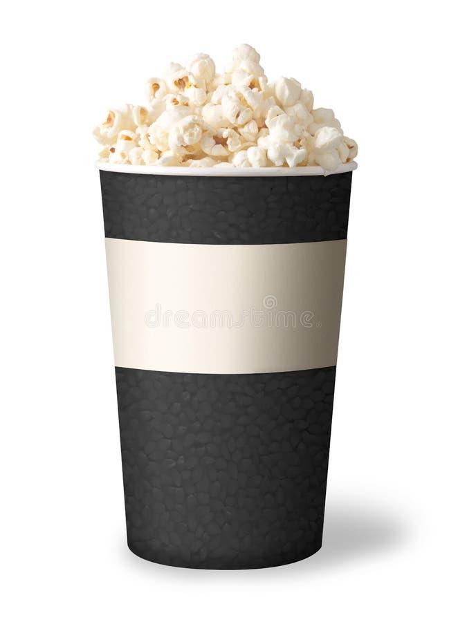 Bucket of popcorn on white background. grey color stock image