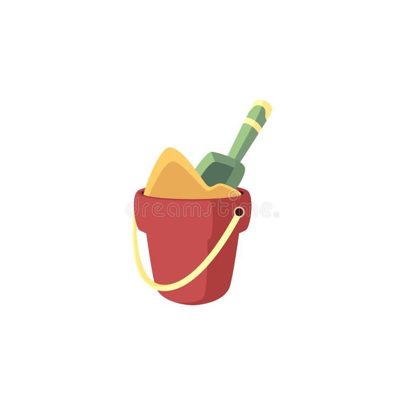 Bucket por completo de la arena y de la pala en ella - los niños de la playa y de la salvadera del verano juegan aislado en el fo stock de ilustración