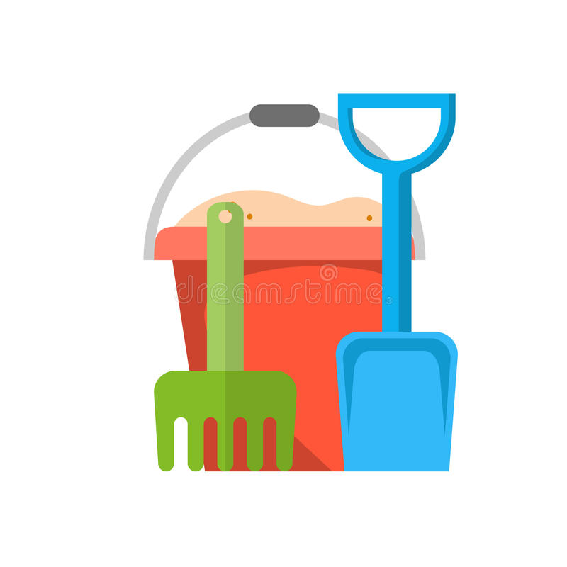 Bucket, rake and shovel with sand. Icon , kid toys tools symbol, vector illustration in flat design royalty free illustration