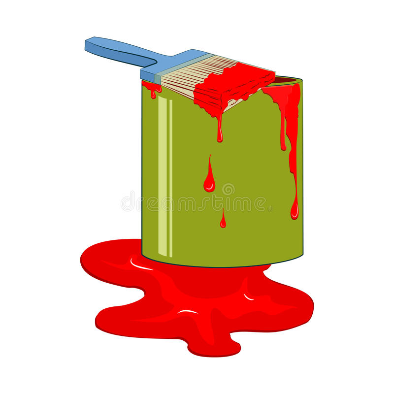 Bucket red paint with dripping paintbrush. Vector illustration, isolated from background vector illustration