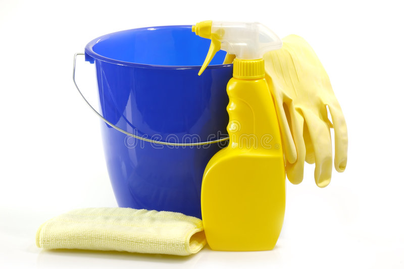 Bucket and a Spray Bottle stock photos