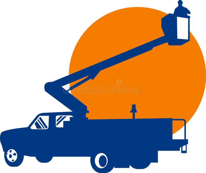Bucket truck and lineman royalty free illustration