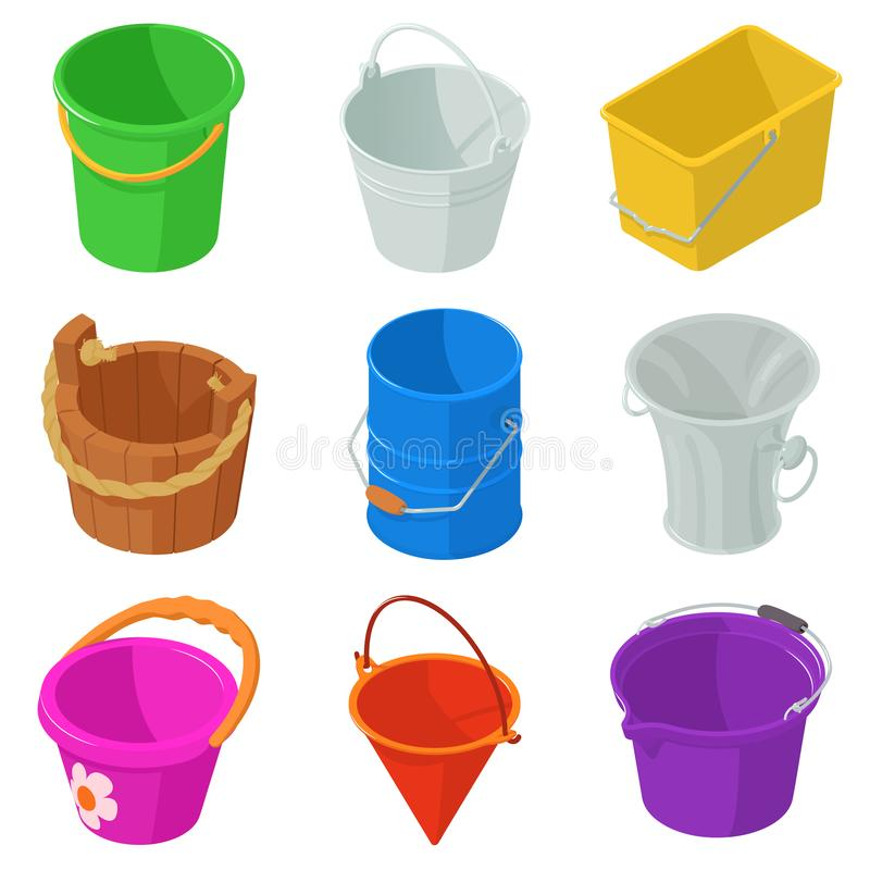 Free Bucket Types Container Icons Set, Isometric Style Stock Photos - 111003213