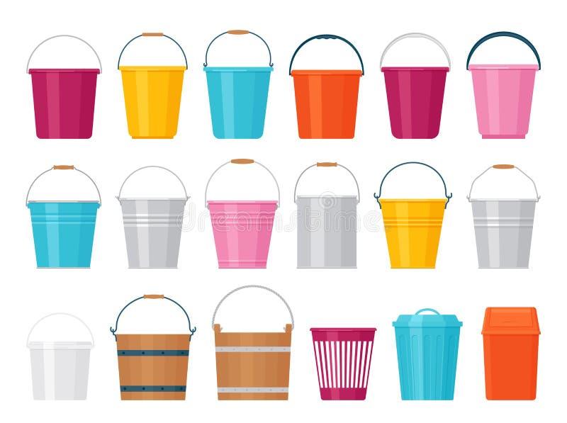 Bucket Vektorillustration Platt design Plaster, metall, träpail vektor illustrationer
