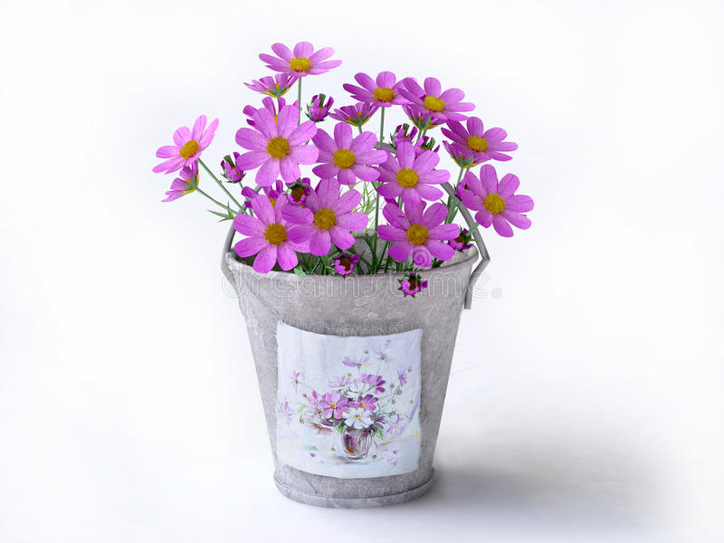 Bucket With Violet Flowers