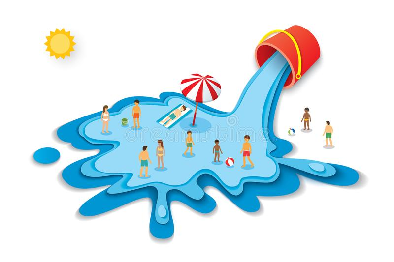 Bucket and water for summer. Vacation concept with people on blu royalty free illustration